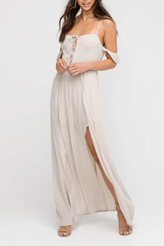 Stella Maxi Romper In Taupe - Boho Bum Island Clothing Swimwear Bohemian Boho west palm beach  Miami florida  fall fashion spring fashion online shopping ootd blogger style swim boutique