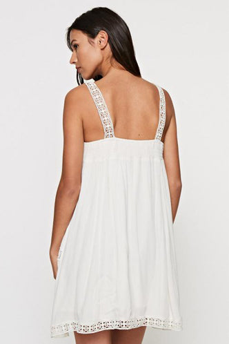 Embroidered Floral Tank Dress in Off-White
