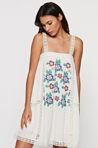 Embroidered Floral Tank Dress in Off-White - Boho Bum Island Clothing Swimwear Bohemian Boho west palm beach  Miami florida  fall fashion spring fashion online shopping ootd blogger style swim boutique