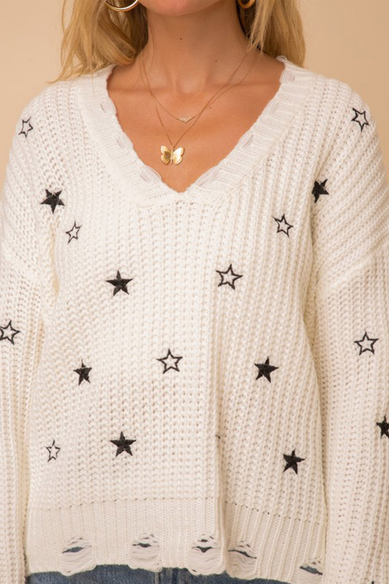You're a Star Distressed Sweater in White