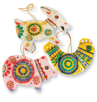 Capiz Shell Animal Ornament Set