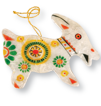 Capiz Shell Ornament - Goat
