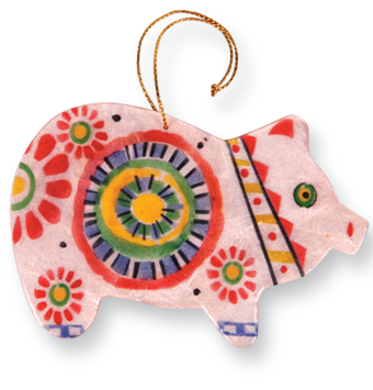 Capiz Shell Ornament - Pig