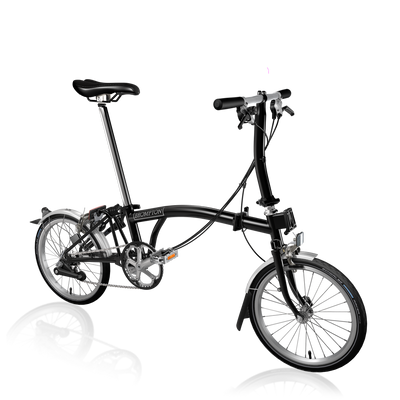 Brompton S-Series-Folding Bikes-Brompton-6-speed-L-type-Black-Bicycle Junction