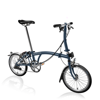 Brompton S-Series-Folding Bikes-Brompton-6-speed-L-type-Tempest Blue-Bicycle Junction
