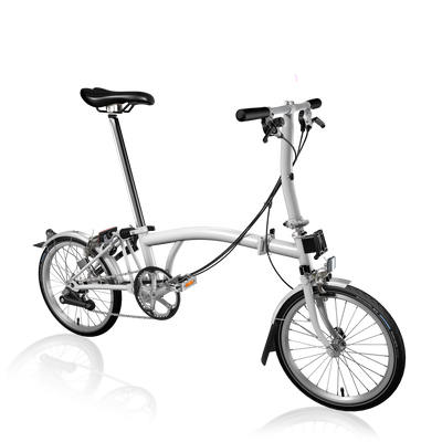 Brompton S-Series-Folding Bikes-Brompton-6-speed-L-type-White-Bicycle Junction
