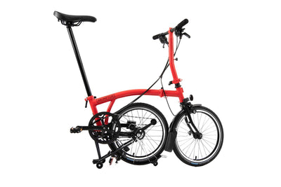 Brompton S2L Superlight Black edition-Folding Bikes-Brompton-2-L-type-Rocket Red-Bicycle Junction