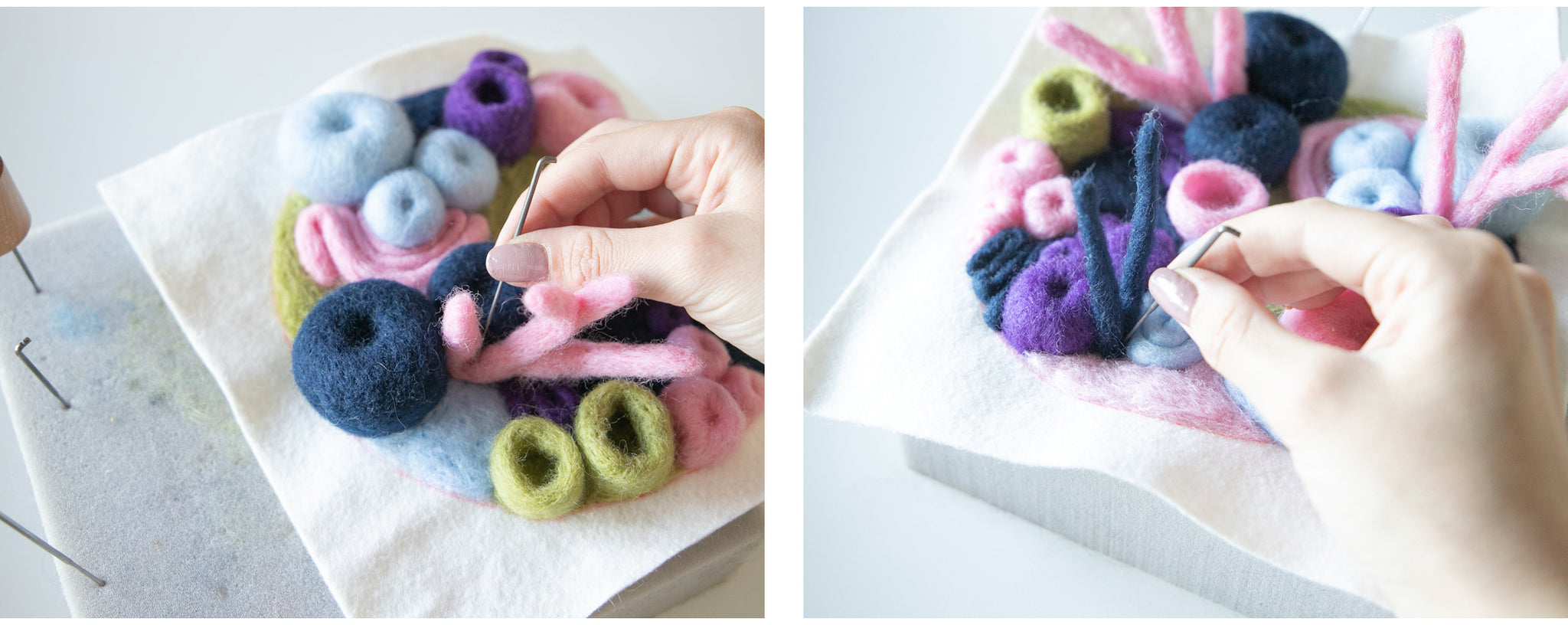 Attaching needle felted branch corals