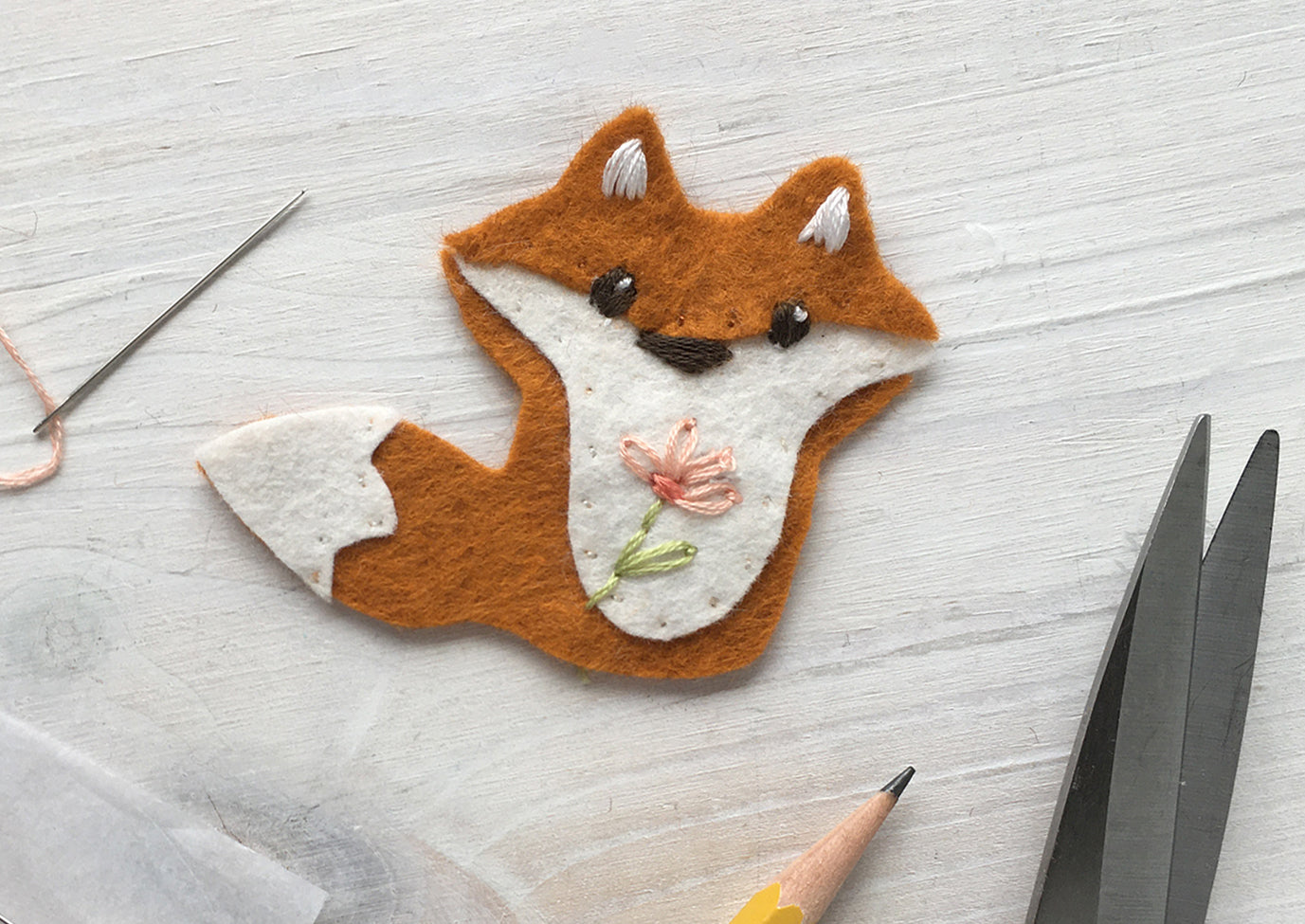 Finished embroidered felt fox