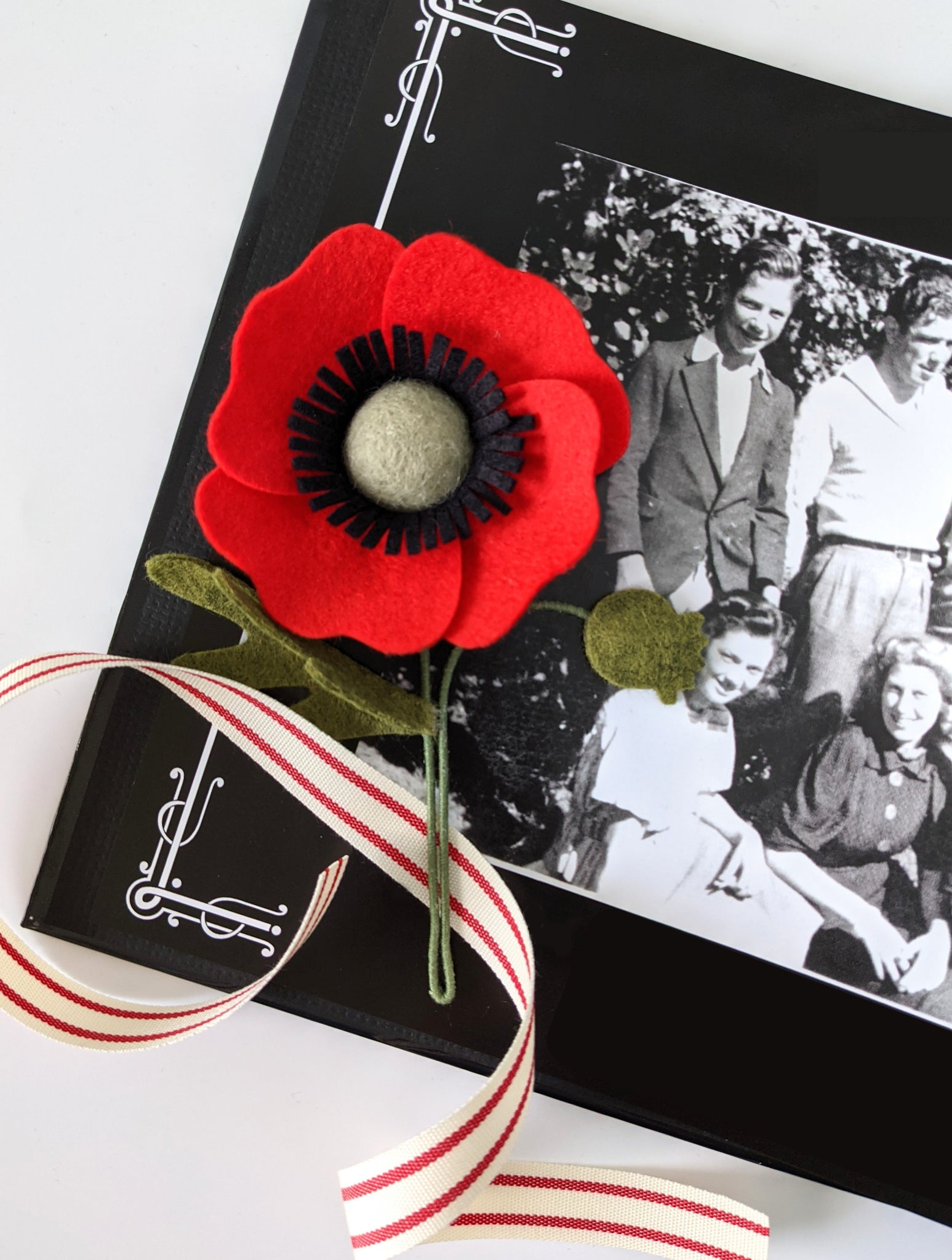 Finished poppy remembrance pin