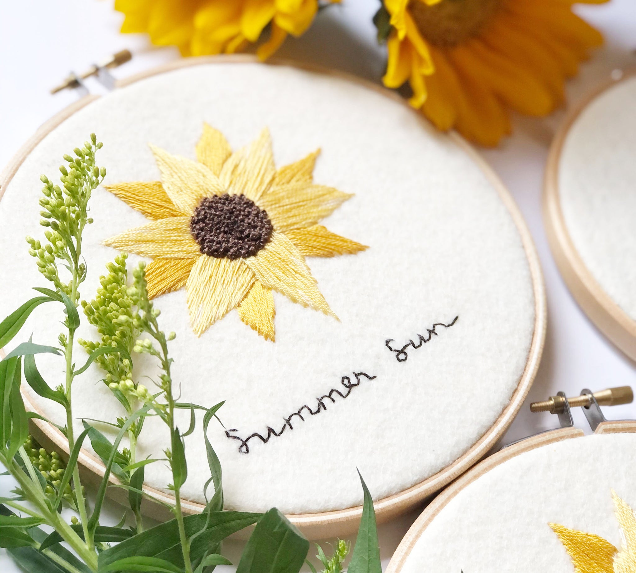 Finished sunflower embroidery