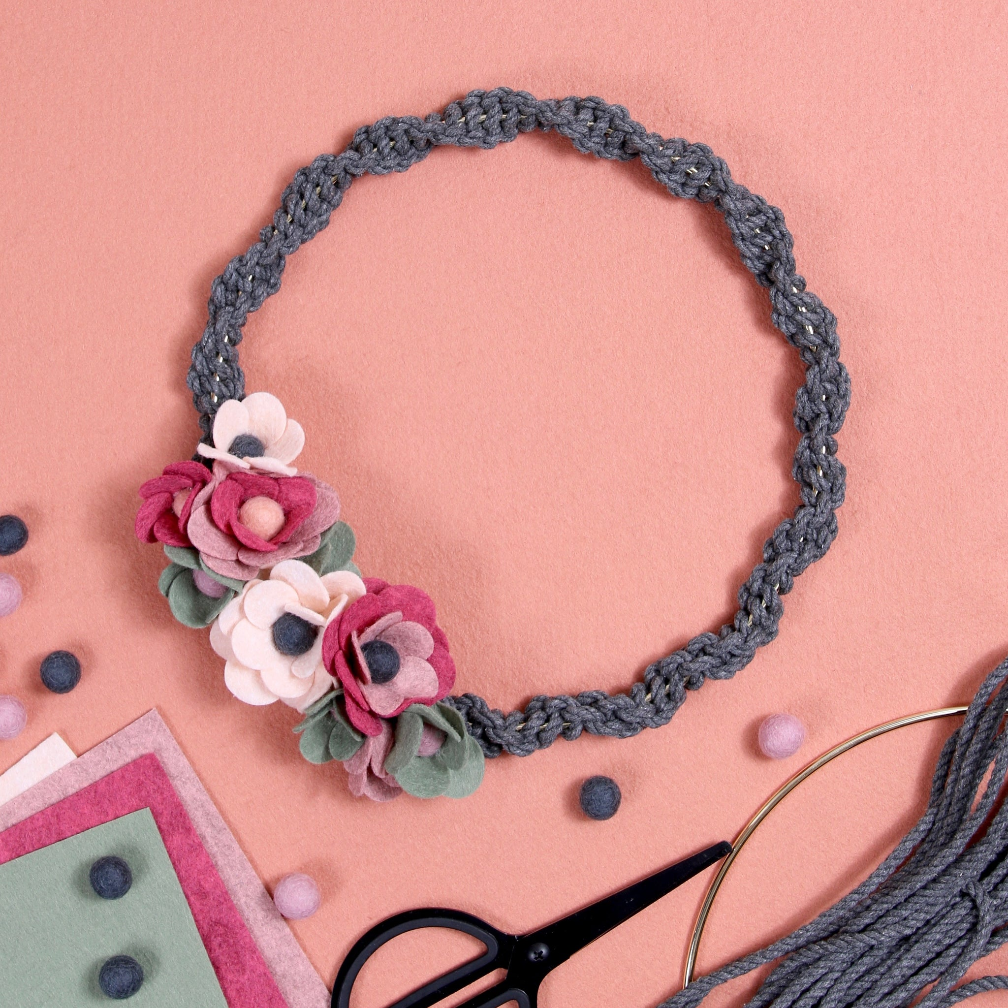 flower macrame wall hanging