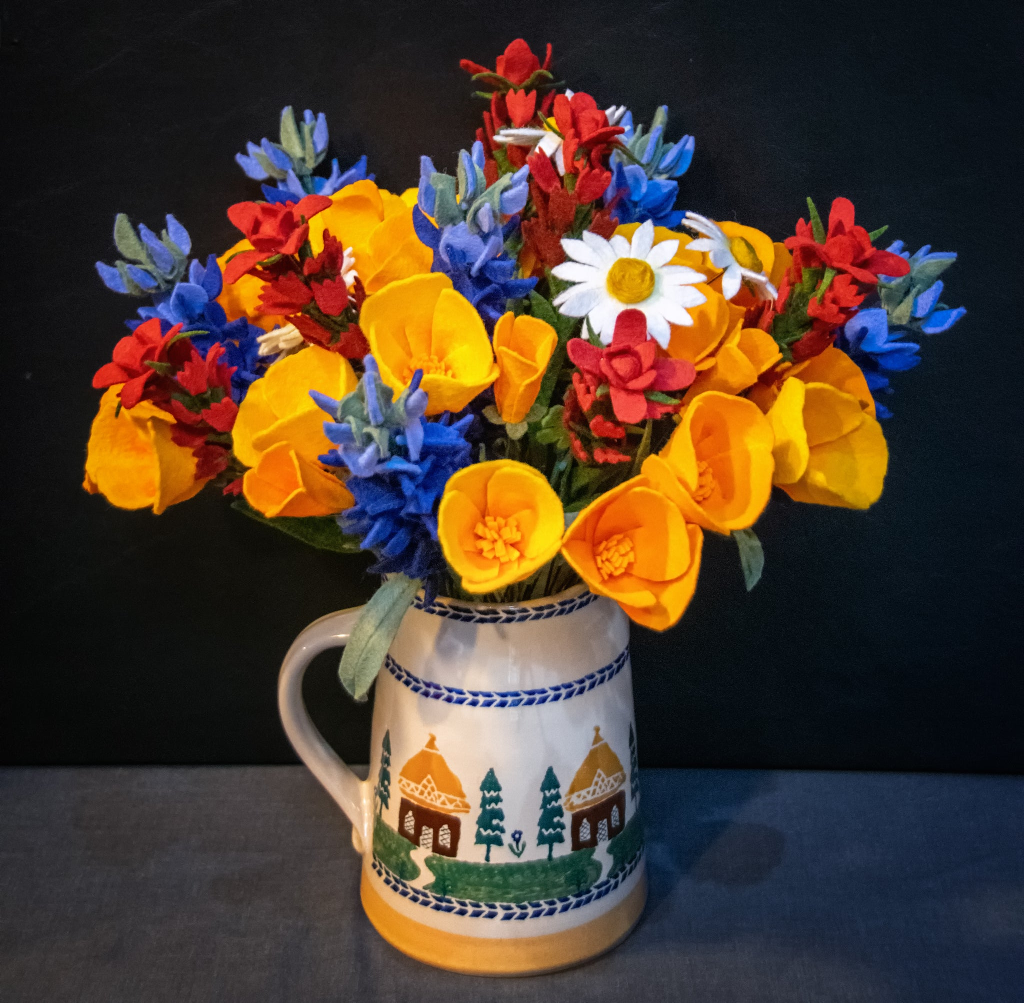 Completed California Poppies in a Bouquet