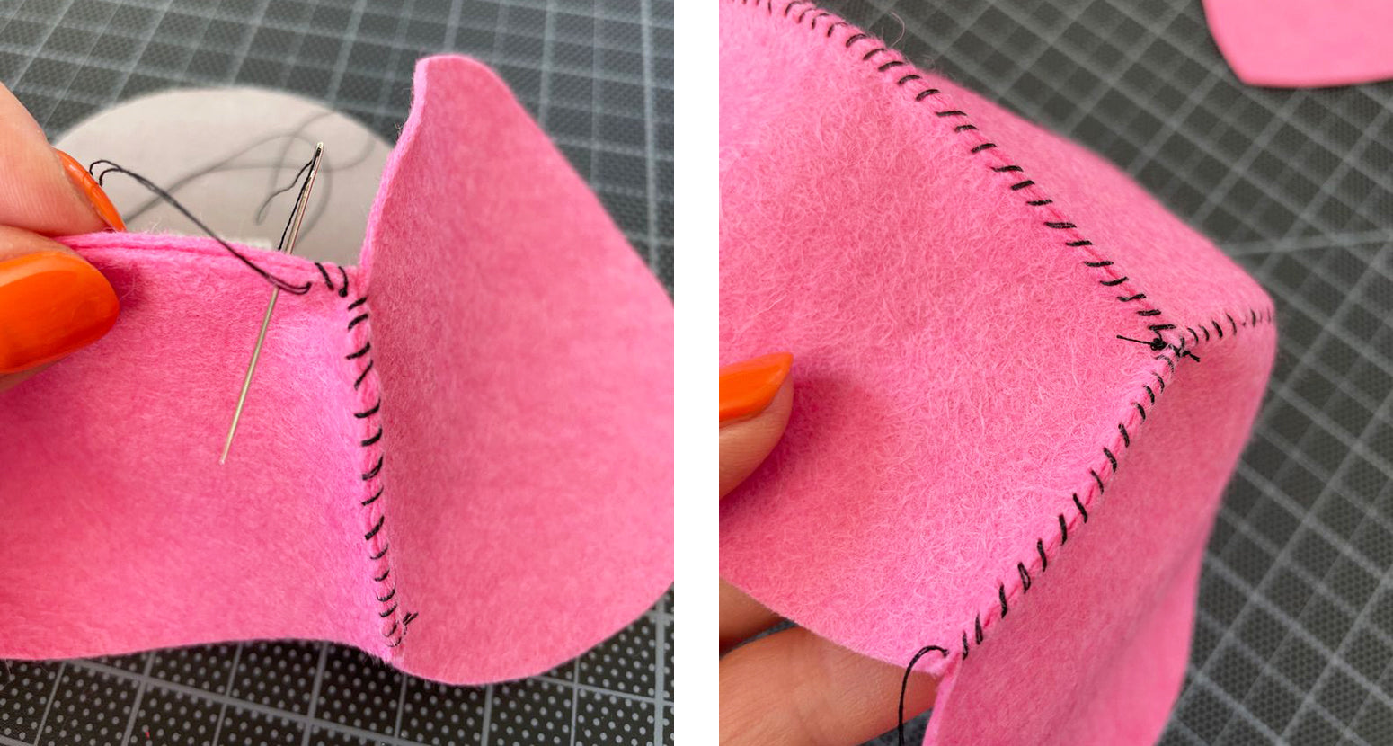 Stitching side and bottom pieces together