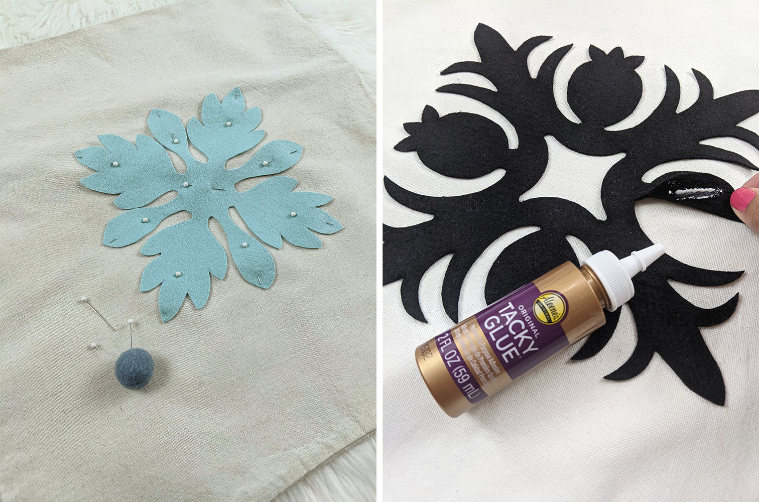 Attaching design to pillow cover