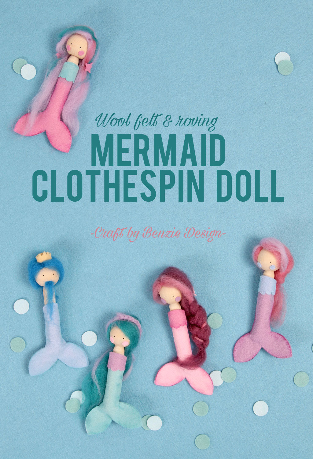 Mermaid clothespin doll