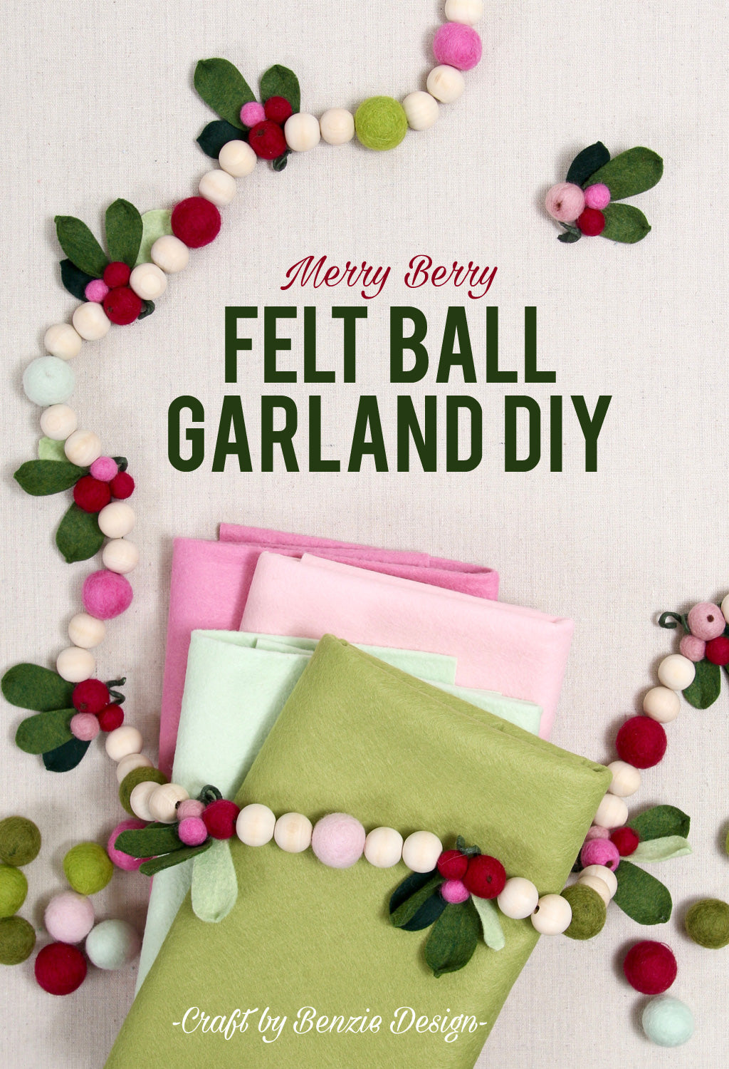 felt ball christmas garland diy