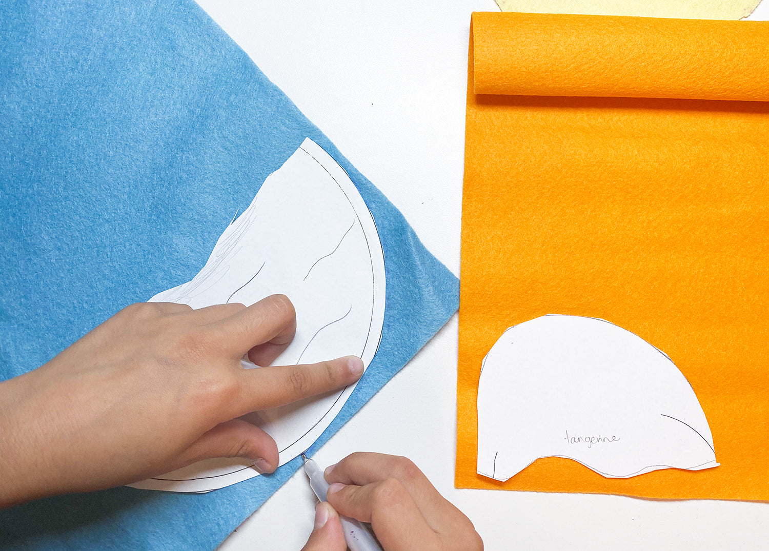 Tracing pattern pieces onto felt