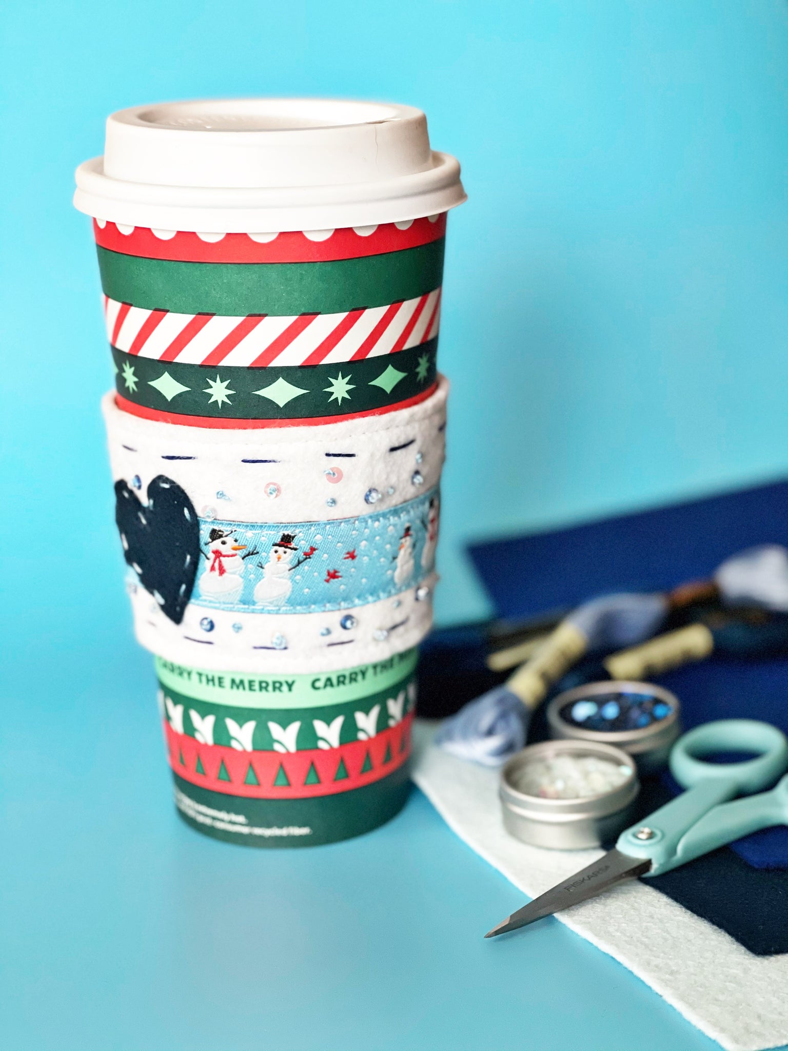 Completed Let It Snow Cupholder