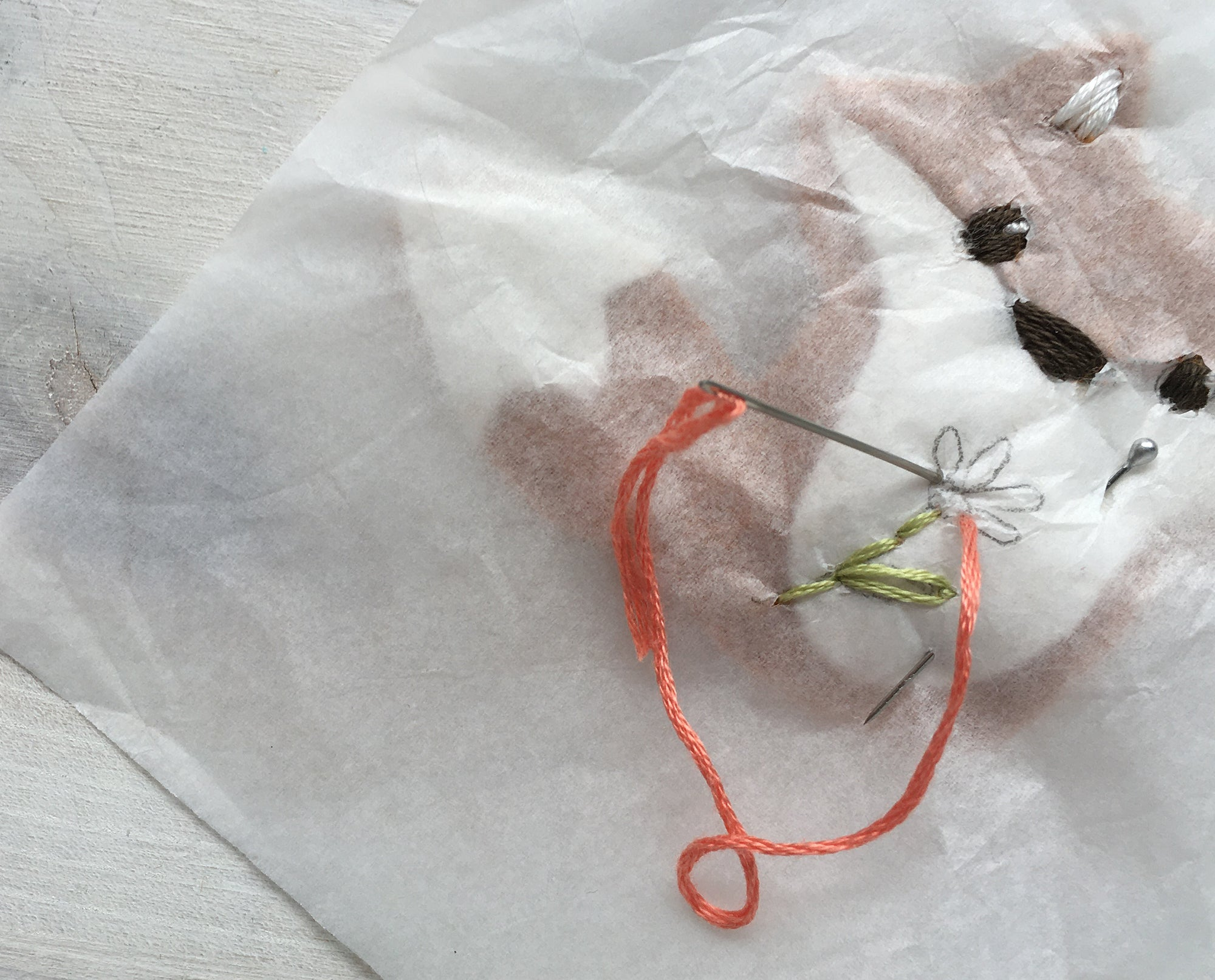 Embroidering through tissue template