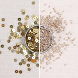 gold sequins, metallic gold sequins, gold seed beads