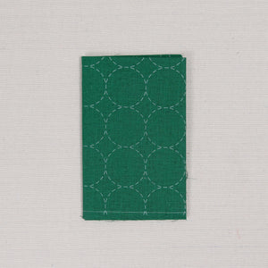 Sashiko Fabric, Circle Pattern in Green
