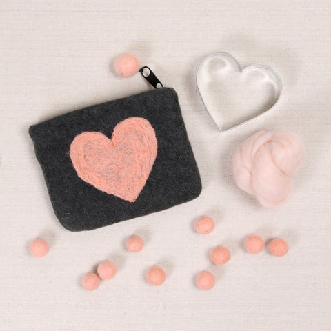 Felted Zippered Heart Pouches