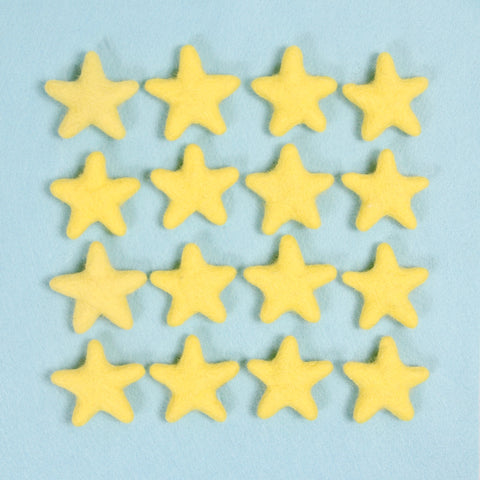 Felt Stars in Lemonade Yellow