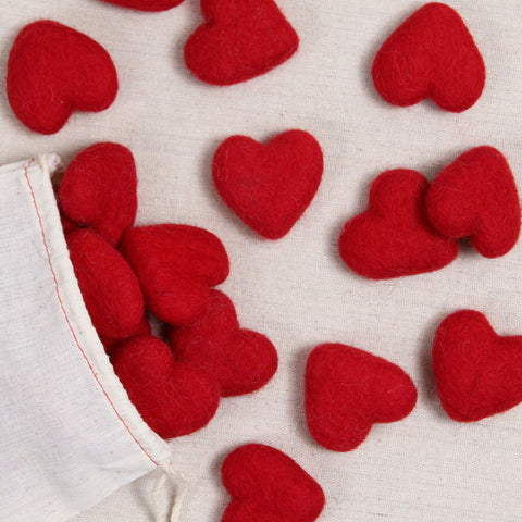 Felt Hearts in Red