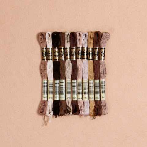 DMC embroidery floss, brown embroidery floss, cross-stitch thread