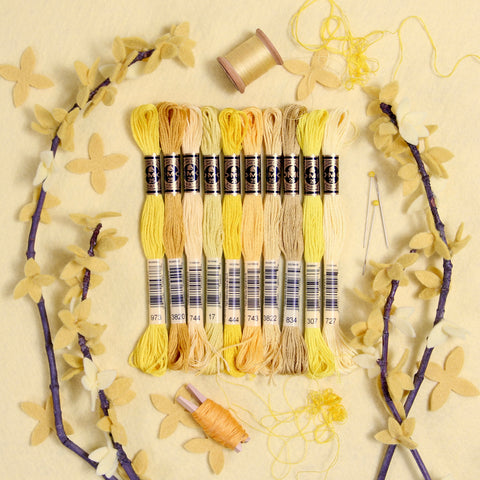 DMC embroidery floss, yellow embroidery floss