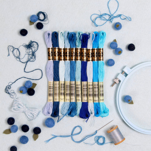 DMC Embroidery Floss, Blue Palette