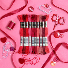 DMC embroidery floss, red embroidery floss