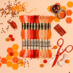 DMC Embroidery Floss, Orange Palette