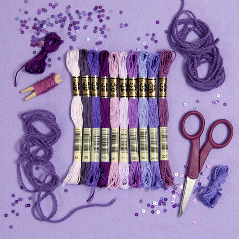 DMC embroidery floss, purple embroidery floss