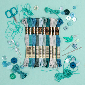 DMC embroidery floss, teal embroidery floss, blue-green embroidery floss