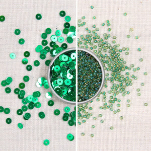 Kelly green sequins, Kelly green beads, metallic green sequins, glass seed beads, green beads, green sequins