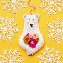 felt Christmas ornament, Christmas ornament kit, Polar Bear ornament