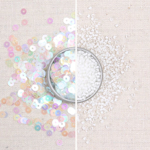 Iridescent Sequins + Beads: Rainbow Iridescent + Moonstone