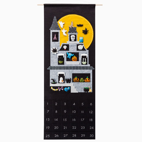 halloween countdown calendar, sugar house shop, halloween felt craft