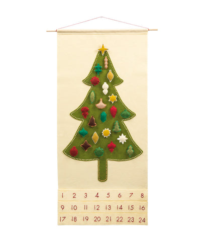 Oh, Christmas Tree Advent Calendar with Whimsical Vintage Ornaments