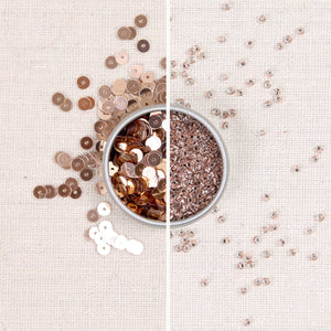 Rose Gold metallic sequins, rose gold seed beads