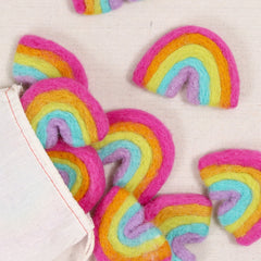 bright felt rainbow, felted rainbow, rainbow decoration