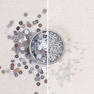 Metallic Sequins or Beads: Silver