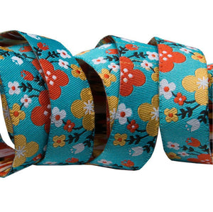 Spring Floral in Turquoise Woven Ribbon