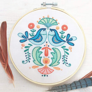 Folk Art Bluebirds Hand Embroidery Sampler