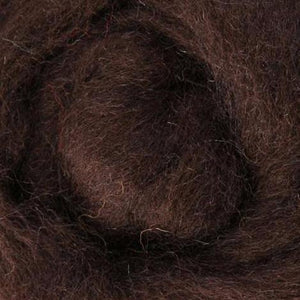 Corriedale wool roving, chocolate, brown wool roving