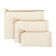 canvas pouch with gold zipper, canvas pouch, set of pouches