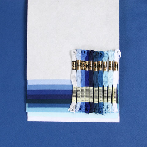blue embroidery floss palette, marine blue, Pantone color of the year 2020