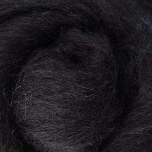 black wool roving, Corriedale wool roving